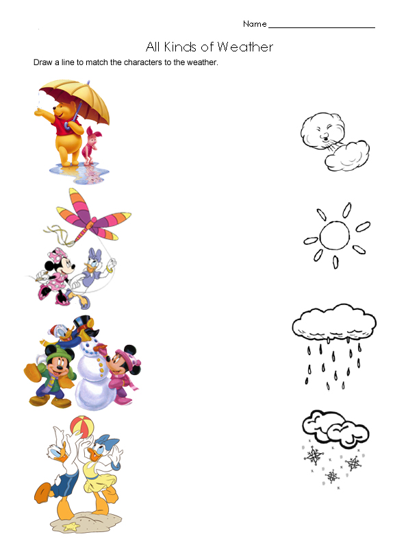 Seasons on Preschool Weather Worksheets Free