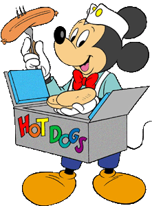 Mickey Mouse Eating Hot Dog